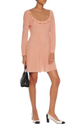 REDValentino Swiss-dot tulle-paneled crepe mini dress