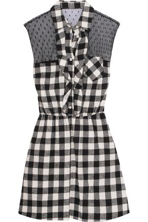 REDValentino Ruffled swiss-dot tulle-paneled checked cotton mini dress