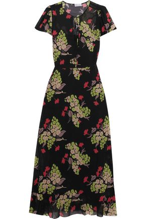 REDValentino Printed stretch-silk chiffon maxi dress