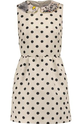 REDValentino Tulle-trimmed polka-dot satin mini dress