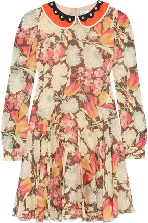 REDValentino Printed silk-blend georgette dress