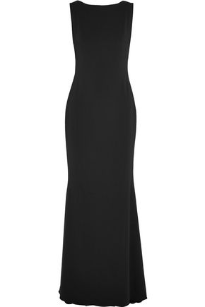 MARCHESA NOTTE Embroidered mesh-paneled crepe gown