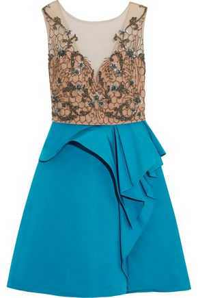 MARCHESA NOTTE Embellished net and satin mini dress