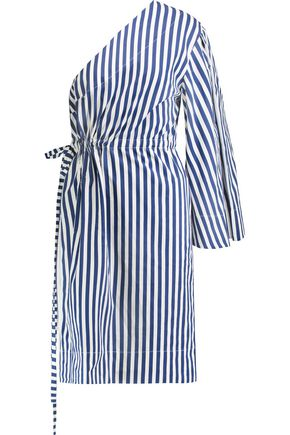 SOLACE LONDON Aylin one-shoulder striped cotton dress