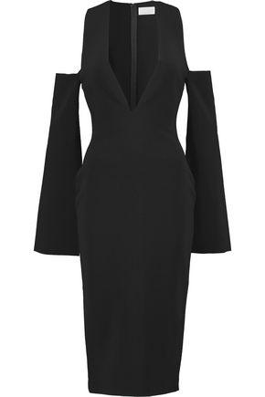 SOLACE LONDON Kari cold-shoulder crepe dress