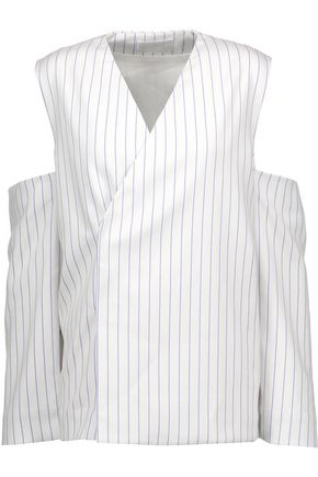 SOLACE LONDON Mia cold-shoulder striped twill jacket