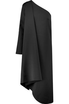 SOLACE LONDON Idelle one-shoulder asymmetric charmeuse midi dress