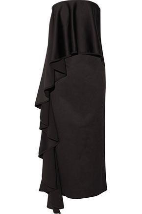 SOLACE LONDON Frances off-the-shoulder ruffle-trimmed faille maxi dress