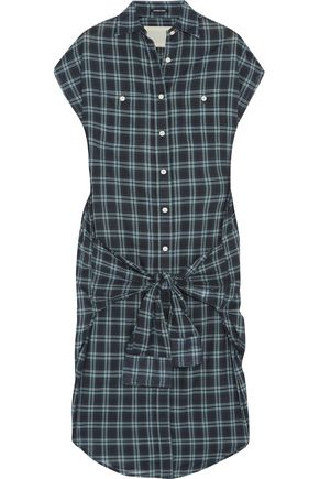 R13 Knotted-front wrap checked cotton dress