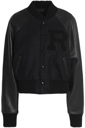R13 Wool-blend paneled appliquéd textured-leather jacket