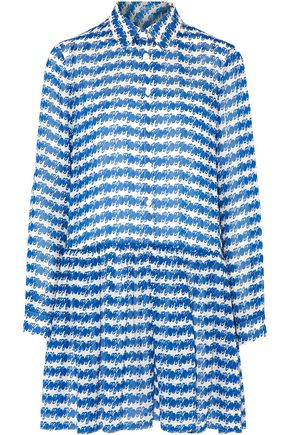 OPENING CEREMONY Pleated printed silk-georgette mini dress