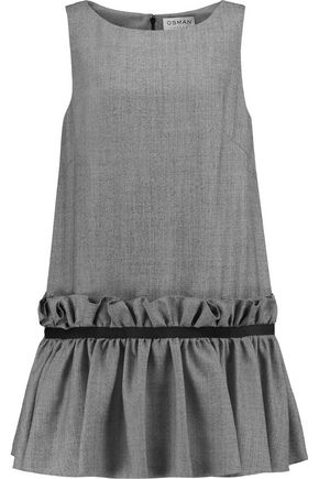 OSMAN Semiha pleated wool mini dress
