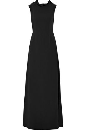 OSMAN Ruffle-trimmed crepe dress