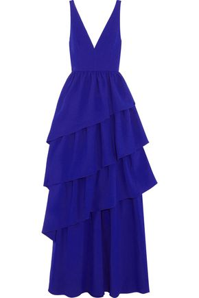 OSMAN Amy tiered wool-crepe gown