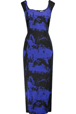 OSMAN Eve printed wool-blend felt midi dress