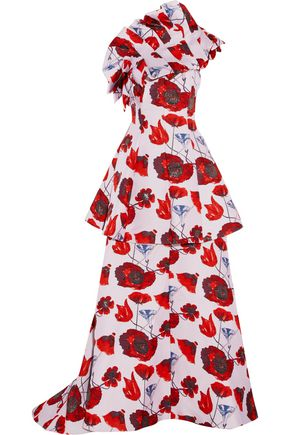 OSMAN Lua strapless tiered floral-print twill gown