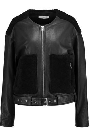 IRO Bouclé-paneled leather jacket