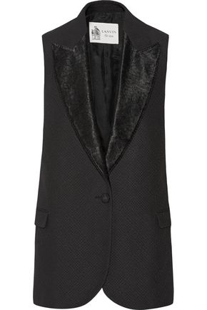 LANVIN Satin-trimmed cotton-canvas vest
