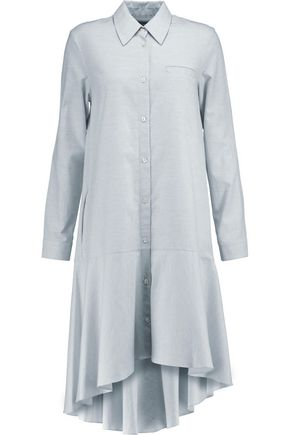 OSMAN Pabita asymmetric slub cotton mini shirt dress