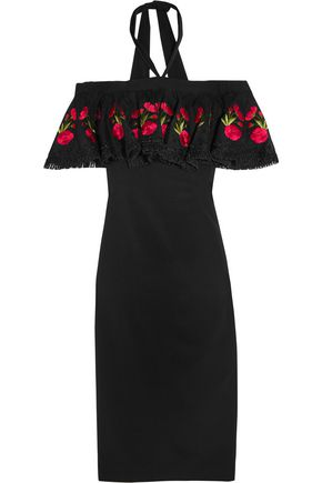 TEMPERLEY LONDON Lyra off-the-shoulder embroidered stretch-crepe dress