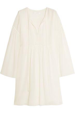 CHLOÉ Cotton and silk-blend crepon mini dress