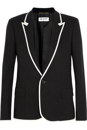 SAINT LAURENT Grosgrain-trimmed wool-crepe blazer