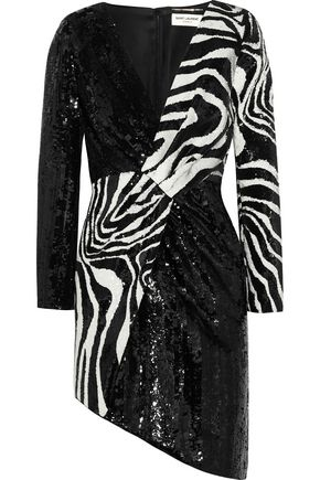 SAINT LAURENT Asymmetric zebra-print sequined wool mini dress