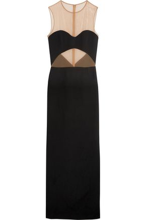MICHAEL KORS COLLECTION Stretch mesh-paneled crepe gown