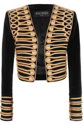 BALMAIN Cropped embellished velvet jacket