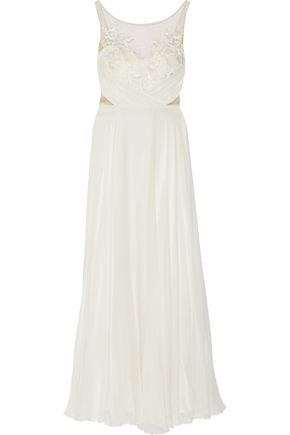 MARCHESA NOTTE Embroidered tulle-paneled silk-georgette gown