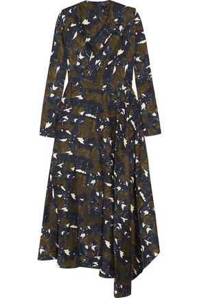MARNI Asymmetric printed silk-twill maxi dress