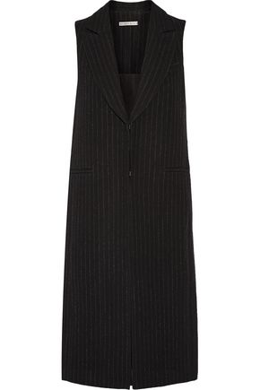 ALICE + OLIVIA Simone pinstriped wool and cotton-blend vest