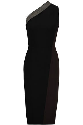 VICTORIA BECKHAM Two-tone silk and wool-blend crepe midi dress