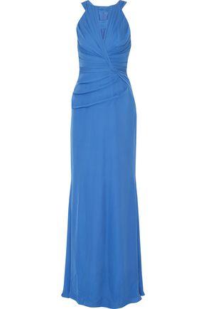 BADGLEY MISCHKA Pleated silk-blend gown