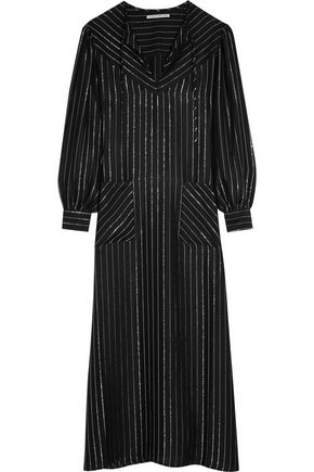 ALESSANDRA RICH Metallic striped silk-blend kaftan