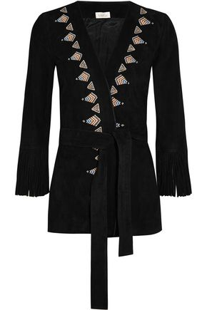 TALITHA Fringed embroidered suede kimono jacket