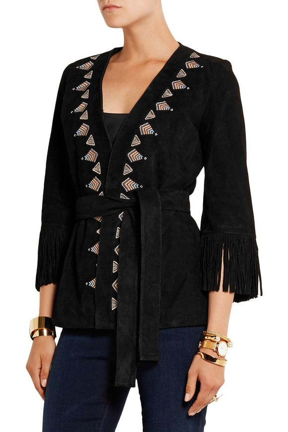 Fringed embroidered suede kimono jacket | TALITHA | Sale up to 70% off |  THE OUTNET