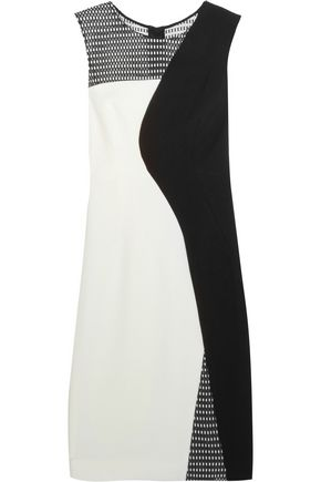 MILLY Helix honeycomb mesh-paneled stretch-cady dress