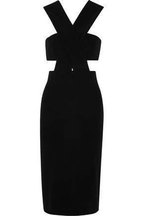 CUSHNIE ET OCHS Cutout bow-embellished stretch-cady dress