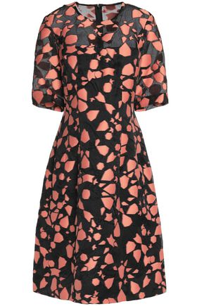 LELA ROSE Printed cotton and silk-blend dress