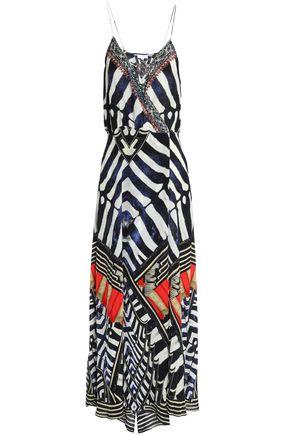 CAMILLA Crystal-embellished printed silk-crepe wrap maxi dress