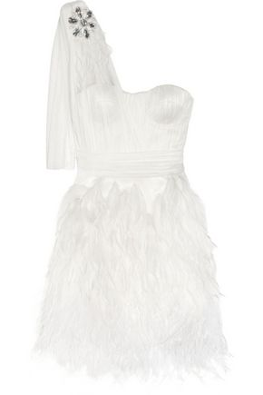 MATTHEW WILLIAMSON Feather-trimmed silk-tulle mini dress