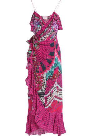 CAMILLA Embellished printed silk-chiffon coverup