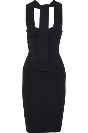 PIERRE BALMAIN Tie-neck pointelle-knit dress