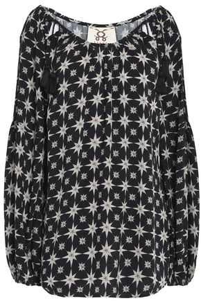 FIGUE Marlie tasseled printed crepe top