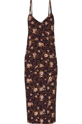 ROCHAS Draped floral-print cady dress