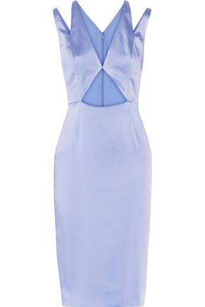 CUSHNIE ET OCHS Cutout crinkled silk-satin dress