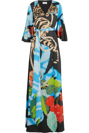 TEMPERLEY LONDON Catalinia printed satin wrap maxi dress