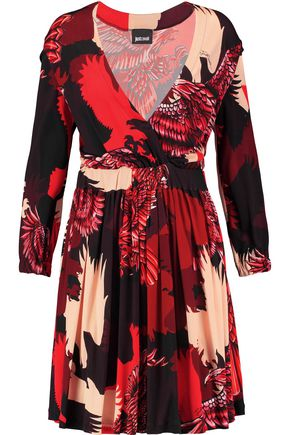 JUST CAVALLI Wrap-effect printed satin-jersey mini dress