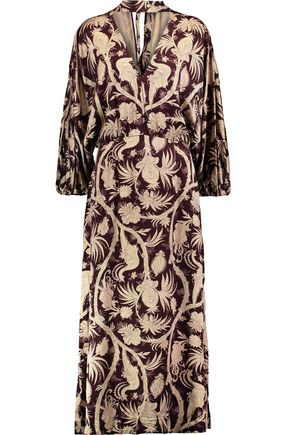ZIMMERMANN Karmic cutout printed satin midi dress